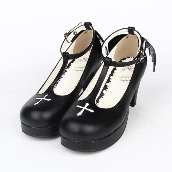 Black Angell Wing And Cross Lolita Princess Shoes SP154045 - SpreePicky  - 1