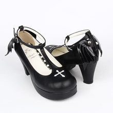 Load image into Gallery viewer, Black Angell Wing And Cross Lolita Princess Shoes SP154045 Kawaii Aesthetic Fashion - SpreePicky