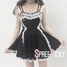 Load image into Gallery viewer, Black Babydoll Sweet Lace Dress SP179053