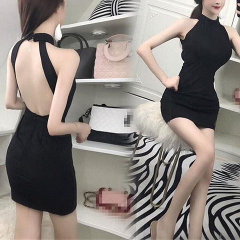 Black Backless Slim Dress SP1811942