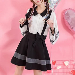 Black Bow Suspender Skirt SP1811976