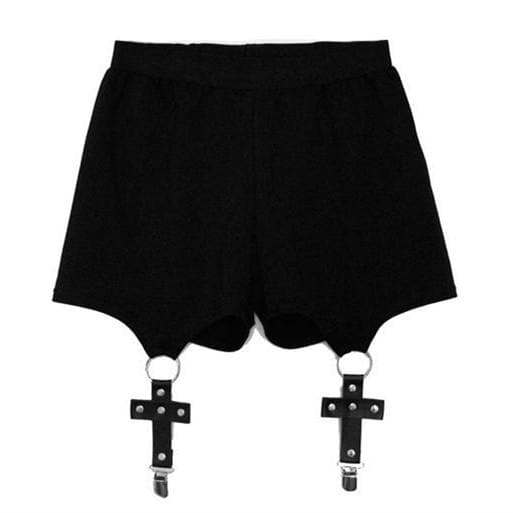 Black Cool Cross Garter Shorts SP178807