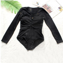 Load image into Gallery viewer, Black Cross Strap Long Sleeve Swimsuit SP179823