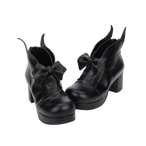 Black Elegant Bow Wing Lolita Boots SP1710661