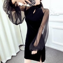 Load image into Gallery viewer, Black Elegant Gauze Cheongsam Dress SP1812082