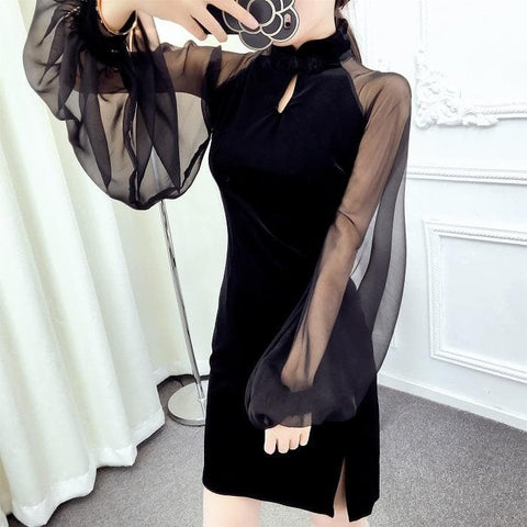 Black Elegant Gauze Cheongsam Dress SP1812082