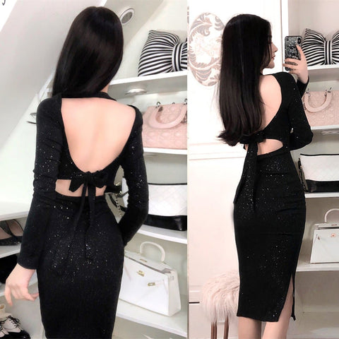 Black Fairy Shining Backless Bow Dress SP1812141