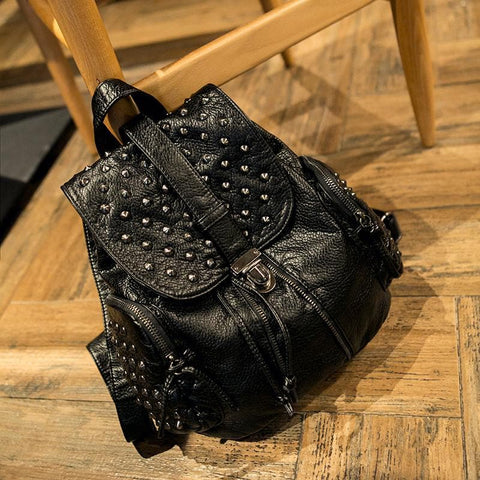 Black Fashion Rivets Backpack SP154299 - SpreePicky  - 4