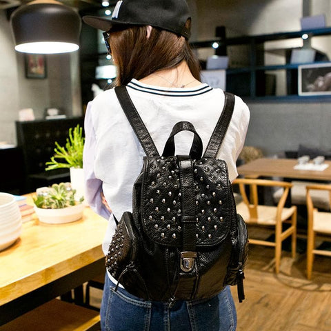 Black Fashion Rivets Backpack SP154299 - SpreePicky  - 3