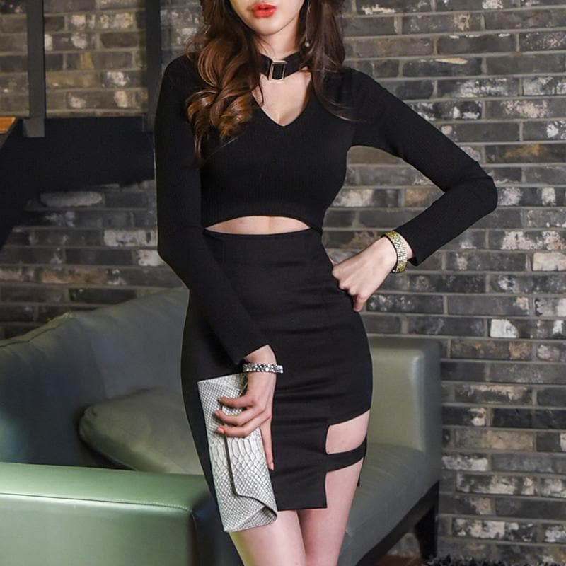Black Gothic Choker Midriff-Baring Dress SP1811949