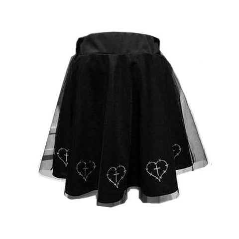 Black Gothic Hearts Crossed Skirt SP1710197