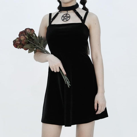 Black Gothic Laced Choker Dress SP1811839
