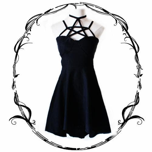 Black Gothic Pentagram Dress SP178902