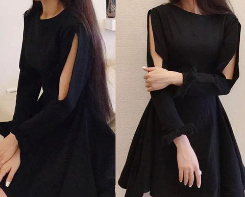 Black Gothic Punk Cut Out Sleeve Dress SP179050