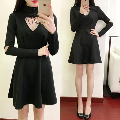 Black Gothic Punk Heart Hollow Long Sleeves Dress SP1811759