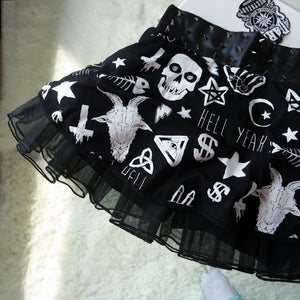Black Gothic Punk Rock Skull Skirt SP178920