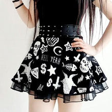 Load image into Gallery viewer, Black Gothic Punk Rock Skull Skirt SP178920