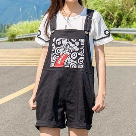 Black Harajuku Dragon Overall Shorts SP1710206