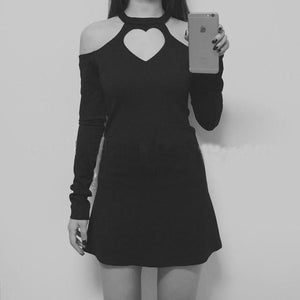 Black Heart Hollow Out Dress SP179493
