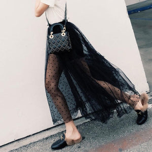 Black High Waist Gauze Maxi Skirt SP1710115
