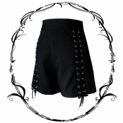 Black High Waisted Lace-Up Shorts SP1811814
