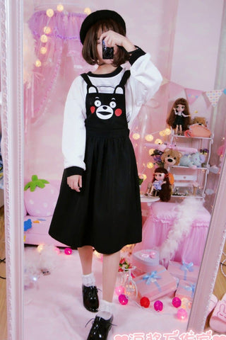 Black Kawaii Kumamon Bear Suspenders Pants/Dress SP166018