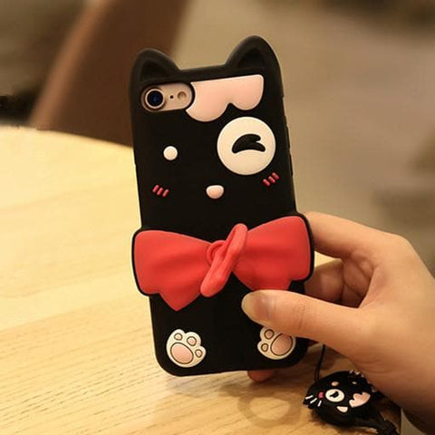 Black Kawaii Cat Iphone Phone Case SP179921