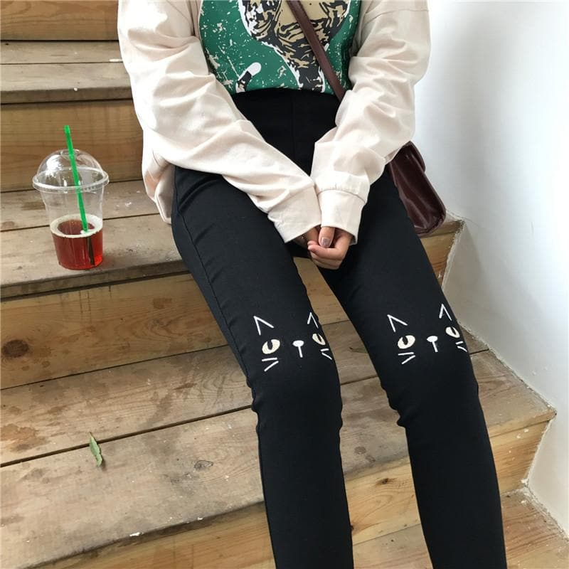 Black Kitty Cat Embroidery Pants SP1711456