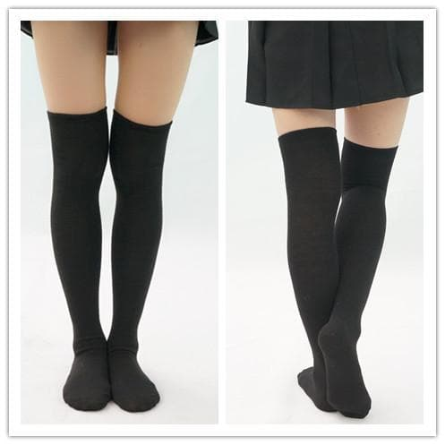 [3 For 2] Black/White  Knitting Over Knee Long Socks SP151625 - SpreePicky  - 1