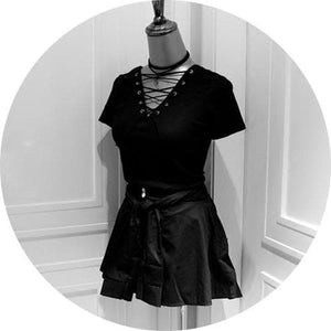 Black Laced Shirt Top SP179237