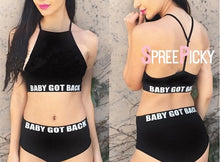 Load image into Gallery viewer, Black Letter Printing Laced Bikini Swimsuit SP1812084