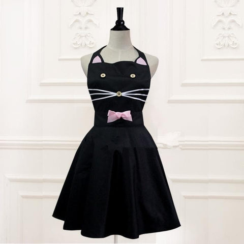 Black Lolita Kawaii Kitty Cat Apron SP165910