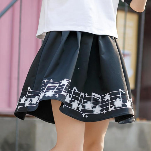 Black Musical Notes Printing Skirt SP179892