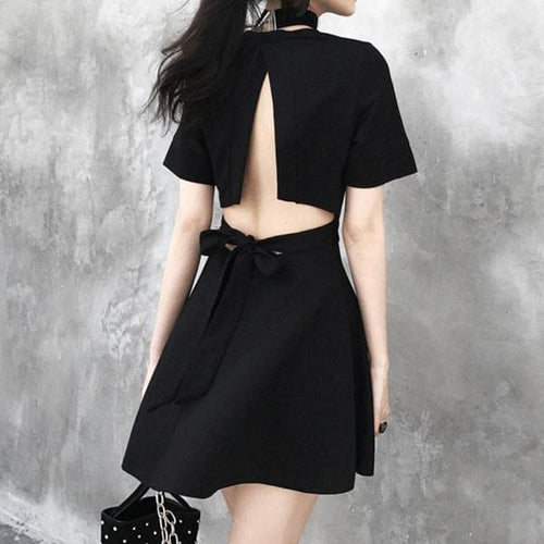 Black Open Back Bow Dress SP1710333