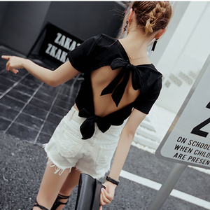 Black Open Back Bow Top SP1710343