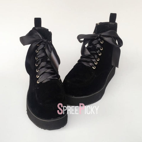Black Punk Ribbon Lace Platform Sneakers SP1710044
