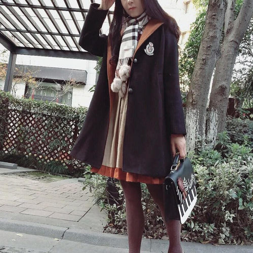 Black Retro Woolen Uniform Coat SP1711445