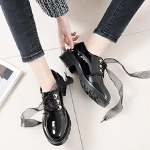 Load image into Gallery viewer, Black Ribbon Laced PU Shoes SP1812010