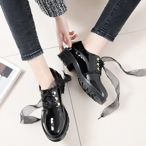 Black Ribbon Laced PU Shoes SP1812010