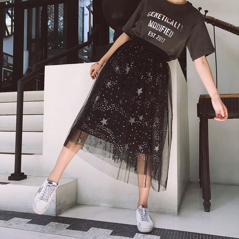 Black Shining Galaxy Tulle Skirt SP1812202