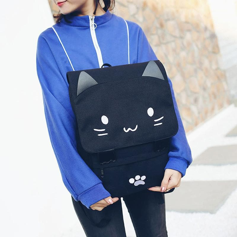 Black Smiley Neko Backpack SP178723