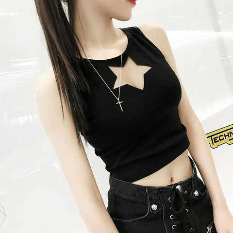 Black Star Out Crop Top  SP1710278