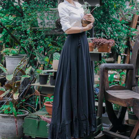 Black Vintage Classic Maxi Skirt Set SP178996