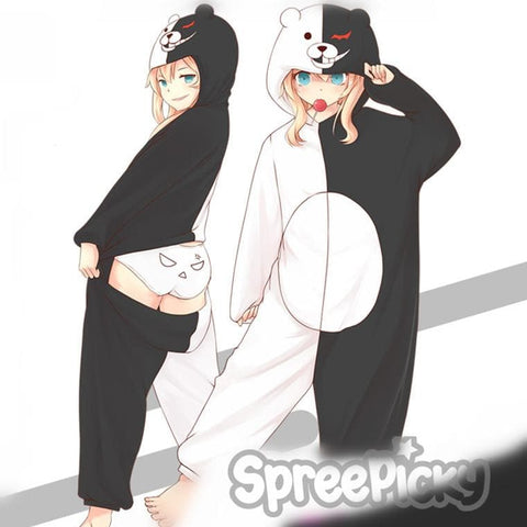 Dangan Ronpa Black White Bear Onesies Kigurumi Homewear Pajamas SP168621
