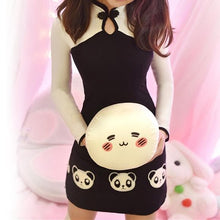 Load image into Gallery viewer, Black and White Panda Long Sleeve Cheongsam SP166202