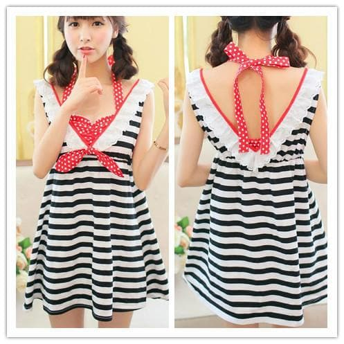 Black/white Stripe Kawaii Dress SP152923 - SpreePicky  - 1