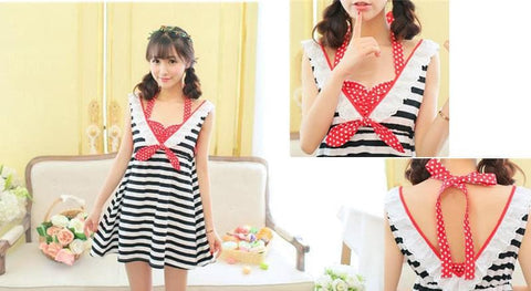 Black/white Stripe Kawaii Dress SP152923 - SpreePicky  - 3