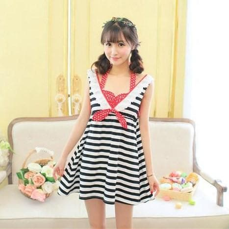 Black/white Stripe Kawaii Dress SP152923 - SpreePicky  - 2