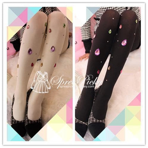 Blingbling Big Colorful Diamonds Vertical Stripes Thick Tights 180D SP130027 - SpreePicky  - 1