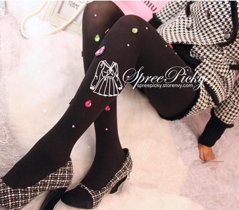 Blingbling Big Colorful Diamonds Vertical Stripes Thick Tights 180D SP130027 - SpreePicky  - 4